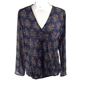 C Apparel Faux Wrap Top Blue Floral Print L/S SZ M